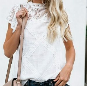 Adorable White Lace Top